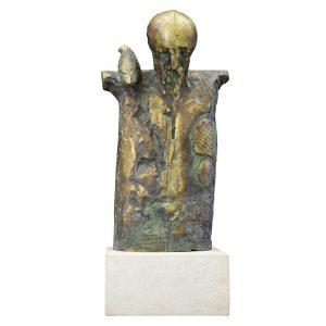 Batran cu Pasare-sculptura-aurel-contras