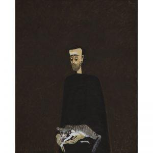 Omul cu pisica-pictura-sorin-ilfoveanu
