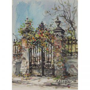 Poarta in Bucurestiul vechi-grafica-mirela-hagiu