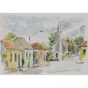 Peisaj din Blaj II-pictura-constantin-grigoruta