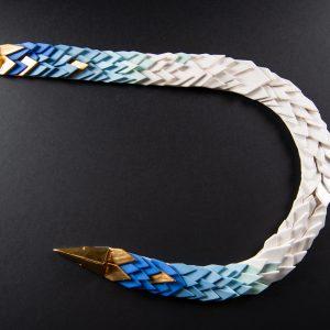Colier albastru cobalt SNAKE-bijuterie-raluca-buzura