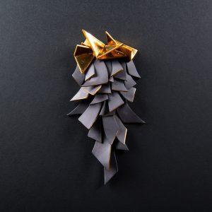 Brosa neagra geometrica-bijuterie-raluca-buzura
