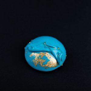 Brosa double layers Turquoise II-bijuterie-maria-filipescu