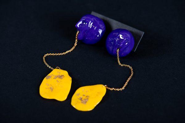 Cercei violet galben-bijuterie-maria-filipescu