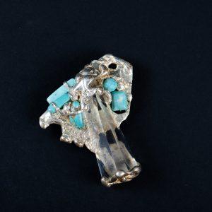 Brosa Cristal si Turcoaz-bijuterie-alina-bancila