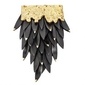 Brosa neagra  cu frunze-bijuterie-raluca-buzura