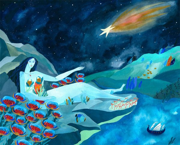 Welcoming a falling star-ilustratie-si-caricatura-