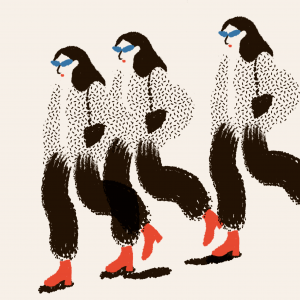 Girl in motion-ilustratie-si-caricatura-