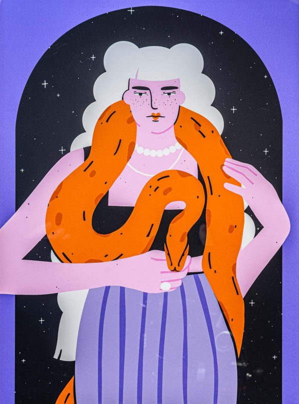 Women with snake-ilustratie-si-caricatura-