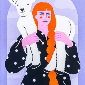 Women with lamb-ilustratie-si-caricatura-